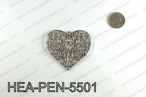 Filigree Heart Pendant 55x65mm, Silver HEA-PEN-5501