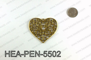 Filigree Heart Pendant 55x65mm, Gold HEA-PEN-5502