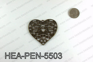 Filigree Heart Pendant 55x65mm, Bronze HEA-PEN-5503