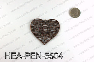 Filigree Heart Pendant 55x65mm, Copper HEA-PEN-5504
