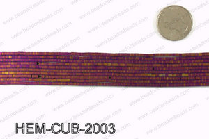 Matte metallic coated hematite 2x2mm HEM-CUB-2003