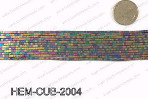 Matte metallic coated hematite 2x2mm HEM-CUB-2004