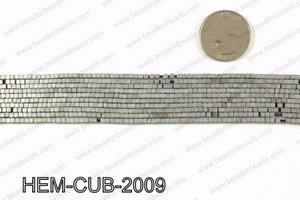 Matte metallic coated hematite 2x2mm HEM-CUB-2009