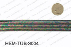 Matte metallic coated hematite 3x1mm HEM-TUB-3004