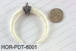 Double horn pendant with crytal bail  HOR-PDT-6001