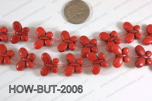 Howlite Butterfly Red 15x20mm HOW-BUT-2006