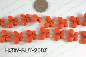 Howlite Butterfly Orange 15x20mm HOW-BUT-2007