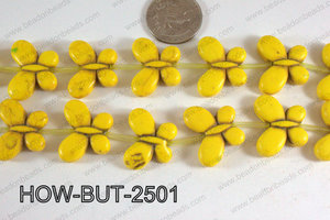 Howlite Butterfly Yellow 20x25mm HOW-BUT-2501