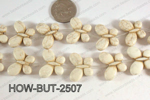 Howlite Butterfly White 20x25mm HOW-BUT-2507