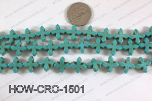 Howlite cross 15mm turquoise HOW-CRO-1501