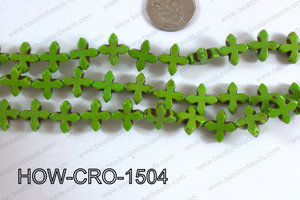 Howlite cross 15mm green  HOW-CRO-1504