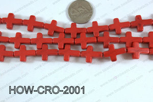 Howlite cross 15x20mm red HOW-CRO-2001