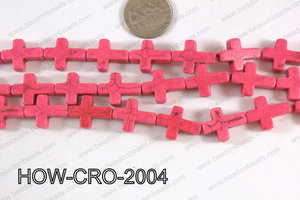 Howlite cross 15x20mm light pink HOW-CRO-2004