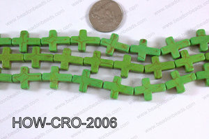 Howlite cross 15x20mm green HOW-CRO-2006