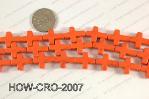 Howlite cross 15x20mm orange HOW-CRO-2007