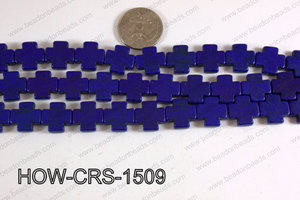 Howlite Cross Dark Blue 15X15mm HOW-CRS-1509