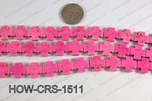 Howlite Cross Hot Pink 15X15mm HOW-CRS-1511
