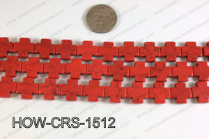 Howlite Cross Red 15X15mm HOW-CRS-1512
