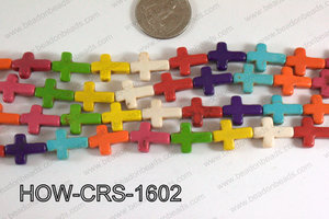 Howlite Cross Multicolor 12x16mm HOW-CRS-1602