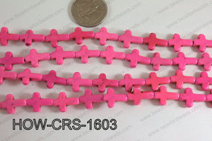 Howlite Cross Hot Pink 12x16mm HOW-CRS-1603