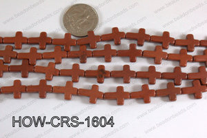 Howlite Cross Brown 12x16mm HOW-CRS-1604