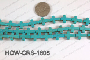 Howlite Cross Turquoise 12x16mm HOW-CRS-1605