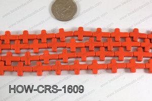 Howlite Cross Orange 12x16mm HOW-CRS-1609
