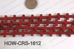 Howlite Cross Red 12x16mm HOW-CRS-1612