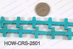 Howlite Cross Turquoise 25x18mm HOW-CRS-2501