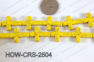 Howlite Cross Yellow 25x18mm HOW-CRS-2504