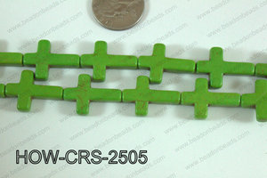 Howlite Cross Green 25x18mm HOW-CRS-2505