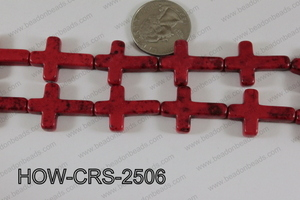 Howlite Cross Red 25x18mm HOW-CRS-2506