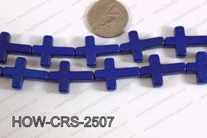 Howlite Cross Dark Blue 25x18mm HOW-CRS-2507