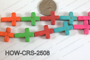 Howlite Cross Multicolor 25x18mm HOW-CRS-2508
