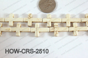 Howlite Cross White 25x18mm HOW-CRS-2510