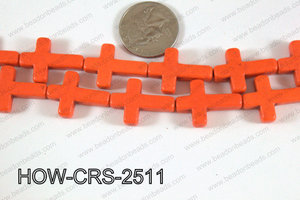 Howlite Cross Orange 25x18mm HOW-CRS-2511
