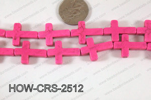 Howlite Cross Hot Pink 25x18mm HOW-CRS-2512