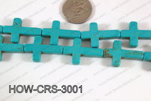 Howlite Cross Turquoise 30x20mm HOW-CRS-3001