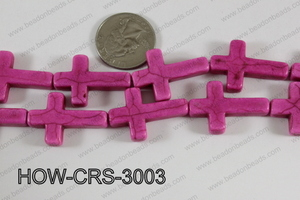 Howlite Cross Hot Pink 30x20mm HOW-CRS-3003