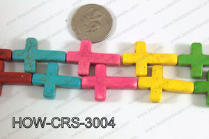 Howlite Cross Multicolor 30x20mm HOW-CRS-3004
