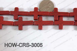 Howlite Cross Red 30x20mm HOW-CRS-3005