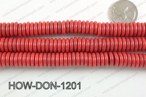 howlite donut shaped red 12mm HOW-DON-1201