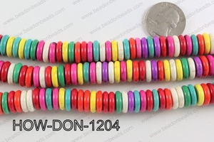 howlite donut shaped multicolor 12mm HOW-DON-1204