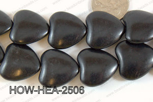 Howlite Heart 25mm Black HOW-HEA-2506