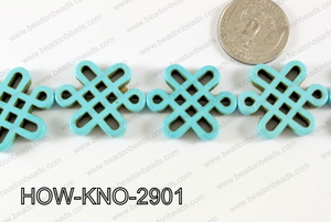 Howlite Chinese knot 24x29mm Turquoise HOW-KNO-2901