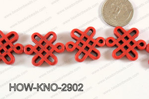Howlite Chinese knot 24x29mm Red HOW-KNO-2902