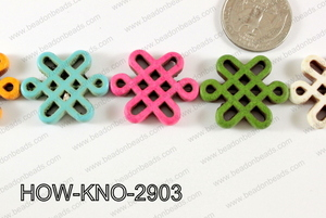 Howlite Chinese knot 24x29mm Multi HOW-KNO-2903