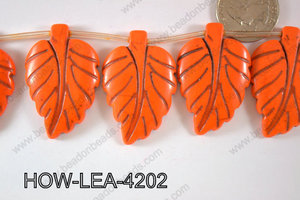 Howlite Leaf 42x27mm HOW-LEA-4202