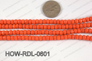 Howlite Rondelle Faceted Orange 06mm HOW-RDL-0601