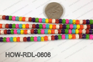 Howlite Rondelle Faceted Multicolor 06mm HOW-RDL-0606